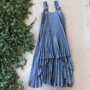 Milly Sawyer Gray High/Low Linen Blend Dress